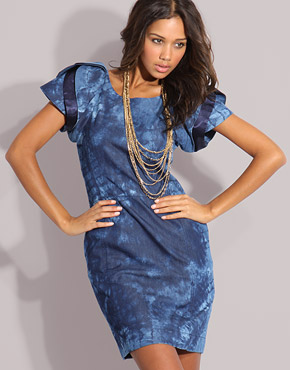 frill sleeve denim dress